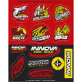 Innova DISC GOLF STICKER SHEETS  2019 Red, Black and Yellow version. Sheet has half-red and half-black background. Each half has six stickers of various designs, all with black, white and red detailing, some have yellow as well.