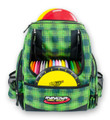 Green Plaid HEROPACK INNOVA DISC GOLF BACKPACK BAG - HOLDS 25 DISCS