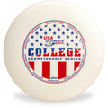 Discraft UltraStar, white, with a red and blue stamp from 2019 College Championship Series.