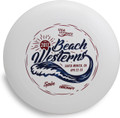 Discraft UltraStar, white, with a red and blue stamp from 2017 Beach Westerns Championships.
