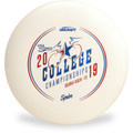 Discraft UltraStar, white, with a red and blue stamp from 2019 College Championships.