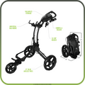"ROVIC RV1D Disc Golf Cart from ProActive Sports - shows cart in expanded, usable configuration with features highlighted and measurements displayed. Features highlighted include: universal bag hooks, valuables storage, umbrella holder, XL cup holder, 12"" rear airless tires."