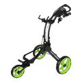 ROVIC RV1D Disc Golf Cart from ProActive Sports - shows cart in expanded, usable configuration with diagram of a backpack disc golf bag hung on the frame - charcoal/lime colorway shown