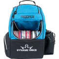 Dynamic Discs TROOPER BACKPACK Bag for Disc Golf - half blue and half black bag, front view, with disc pocket open showing full of discs