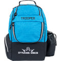 Dynamic Discs TROOPER BACKPACK Bag for Disc Golf - half blue and half black bag, front view, with disc pocket closed