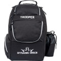 Dynamic Discs TROOPER BACKPACK Bag for Disc Golf - all black bag, front view, with disc pocket closed