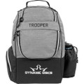 Dynamic Discs TROOPER BACKPACK Bag for Disc Golf - half gray and half black bag, front view, with disc pocket closed