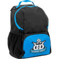 Dynamic Discs CADET BACKPACK Bag for Disc Golf - blue and black bag with disc compartment closed, angled front view showing right side of bag
