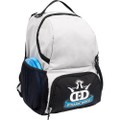Dynamic Discs CADET BACKPACK Bag for Disc Golf - gray and black bag with disc compartment closed, angled front view showing right side of bag