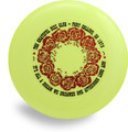 """DISCRAFT SKY STYLER FREESTYLE DISC - CUSTOM GRATEFUL DISC ROSES - top view of yellow disc with red ring of roses and words: """"The Grateful Disc Club - Fort Collins, CO 1978 - It's All a Dream We Dreamed One Afternoon Long Ago!"""""""