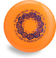 "DISCRAFT SKY STYLER FREESTYLE DISC - CUSTOM GRATEFUL DISC ROSES - top view of orange disc with blue ring of roses and words: ""The Grateful Disc Club - Fort Collins, CO 1978 - It's All a Dream We Dreamed One Afternoon Long Ago!"""