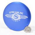 Streamline METAL MINI - Large Driver Marker Blue Top View w/ quarter comparison