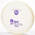 Discmania Glow C-Line P2. Shows top view of a white glow plastic disc with a purple stamp standing vertically at a slight angle with a white background.