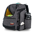 Shows angled front view of the Innova Super HeroPack II in Black Heather color. The front flap is open showing a full load of discs and a water bottle appears in the side pocket. A disc is sticking up from the top slightly and a white mini is sticking up from a mini pocket on the side.