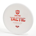 Top view of a white Discmania Evolution Tactic (Exo Soft)