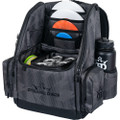 Dynamic Discs Commander Cooler Backpack Disc Golf Bag -  Graphite Hex color. Shows angled front view of a fully-loaded bag with full capacity of discs plus a six pack in cooler pouch, putters in the upper pockets and water bottles in the side compartments.