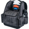 Dynamic Discs Commander Cooler Backpack Disc Golf Bag -  Graphite Hex color. Shows angled front view of a fully-loaded bag with disc compartment zipped closed, putters in the upper pockets and water bottles in the side compartments.