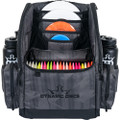 Dynamic Discs Commander Cooler Backpack Disc Golf Bag -  Graphite Hex color. Shows front view of a  fully-loaded bag with full capacity of discs, putters in the upper pockets and water bottles in the side compartments.