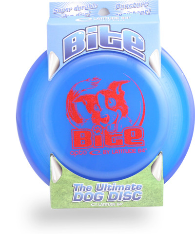 Latitude BITE DOG DISC - High Durability & Wind Resistant Canine Frisbee - Blue front view in packaging
