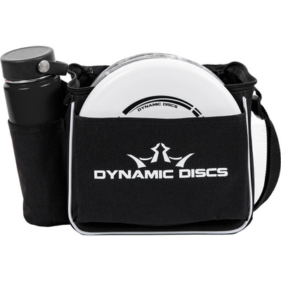 Front view of black Dynamic Discs Cadet starter bag. Shows water bottle in pocket on side to viewer's left, white disc in front pocket, and a single strap. Has white Dynamic Discs logo on front.