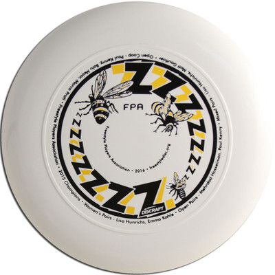 Discraft Sky-Styler FPA 2016 Design. Shows top view of a white disc.