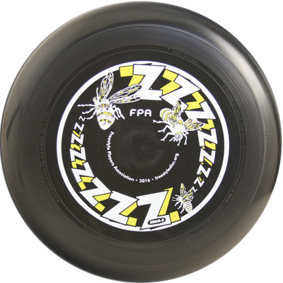 WHAM-O 100 MOLD FRISBEE - CUSTOM FPA 2016 DESIGN. Shows top view of black disc.