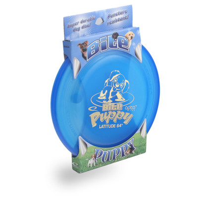 Latitude 64Ì´åÁ BITE PUPPY FLYING DISC - High Durability & Wind Resistant Canine Dog Frisbee - blue front view in packaging