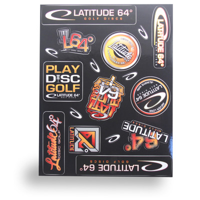 LATITUDE DISCS STICKER SHEET - ASSORTED DISC GOLF STICKERS