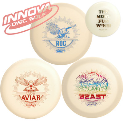 Innova Glow Gift Set - 3 Discs Pack (Glows in Dark) + Mini Marker Disc, Sticker. Shows three discs arranged in a triangle with a sticker in the upper left corner and a mini disc in the upper right corner.