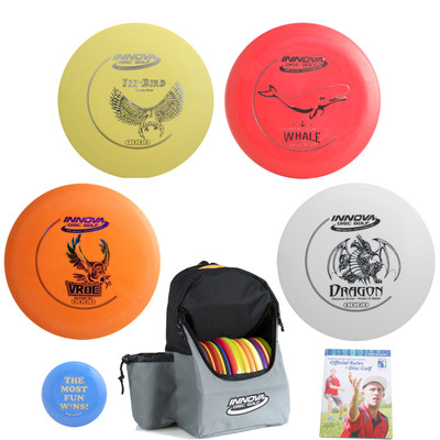 Innova Complete Disc Golf Gift Set - Discover Bag, 2 Drivers, Mid-Range, Putter + Mini and Rules