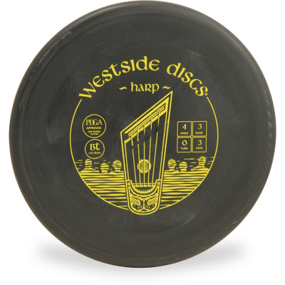 Westside Discs BT MEDIUM HARP Disc Golf Putter - front view black