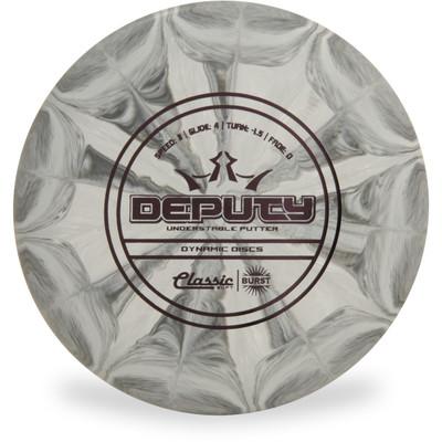 Dynamic Discs CLASSIC SOFT BURST DEPUTY Disc Golf Putter - front view gray