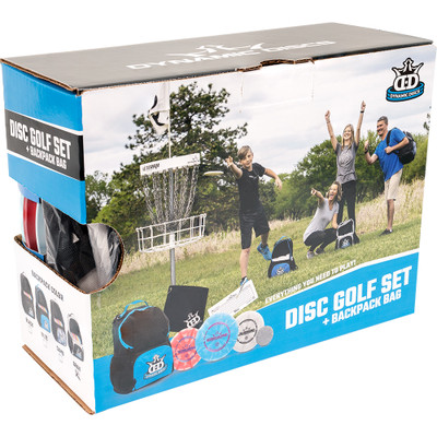 Dynamic Discs Cadet Backpack Starter Set - angled front view of set in a box