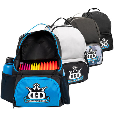 Dynamic Discs CADET BACKPACK Bag for Disc Golf - four colors lined up and overlapping, with the blue bag in the front open to display disc storage compartment