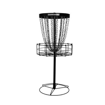 Discraft CHAINSTAR LITE Basket for Disc Golf - black version - shows entire basket with portable base