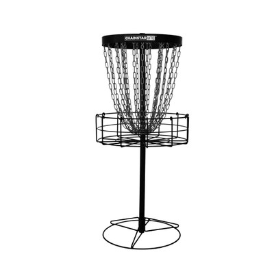 Discraft CHAINSTAR LITE Basket for Disc Golf - black version - shows entire basket with portable base