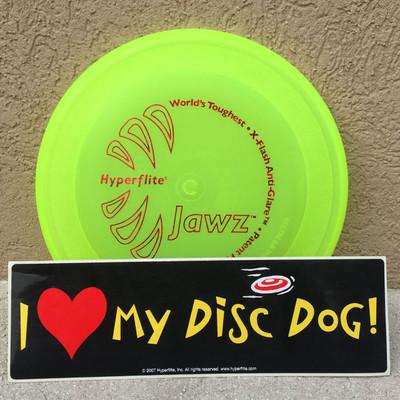 "Hyperflite JAWZ DISC + BONUS STICKER - ""I Love My Disc Dog"" - shows yellow disc with black sticker that says ""I (heart symbol) my Disc Dog"""