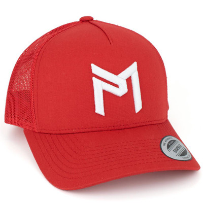 Discraft PAUL MCBETH TRUCKER HAT - Snapback - shows red hat with white PM logo