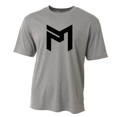 Discraft PAUL MCBETH T-SHIRT - PM Logo - shows a light gray colored, short sleeve shirt with a black PM logo large and centered on the front