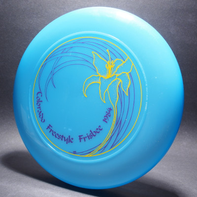 Sky-Styler Colorado Freestyle Frisbee 1984 Blue w/ Purple and Yellow Matte-T80