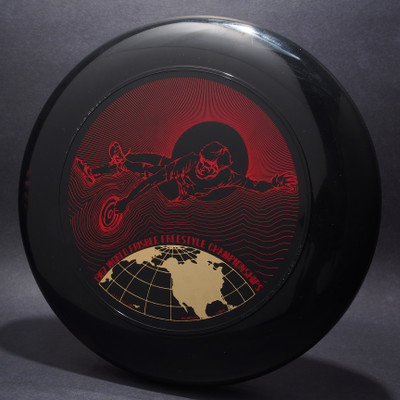 1982 World Freestyle Frisbee Championships Austin TX Black w/ Red Matte and Metallic Gold - T80 - Top View