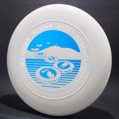 Sky-Styler Michigan Flying Disc Association White w/ Metallic Silver and Metallic Blue - TR Top View Black Background