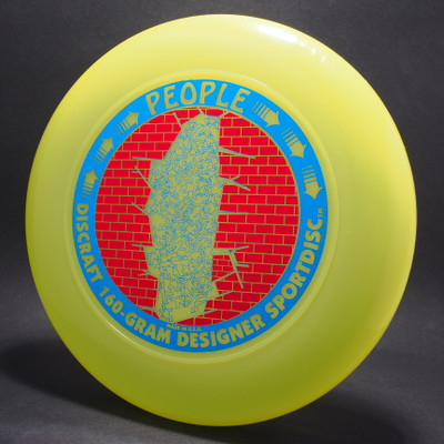 Sky-Styler Discraft People Bright Yellow w/ Metallic Red Brick and Metallic Blue People - T90 - Top View