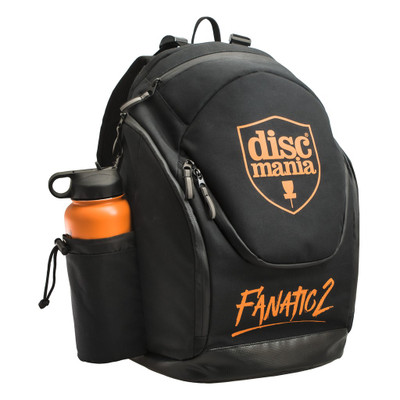 Shows a black Discmania Fanatic 2 Bag pointing forward and to the viewer's right. It has an orange water bottle in its holder.