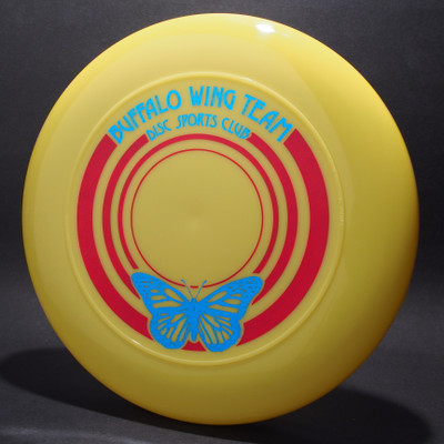 Buffalo Wing Team Disc Sports Club Yellow w/ Metallic Blue and Red Matte Top View - T80 - Top View