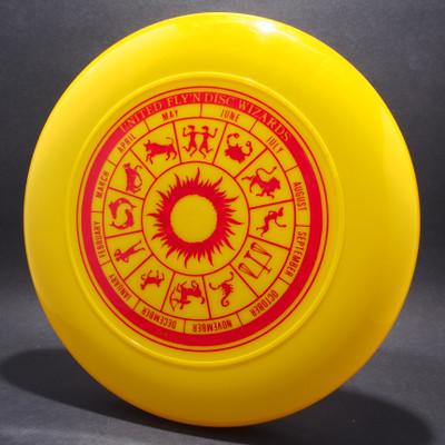 Sky-Styler United Fly'n Disc Wizards Yellow w/ Red Matte - T80 - Top View