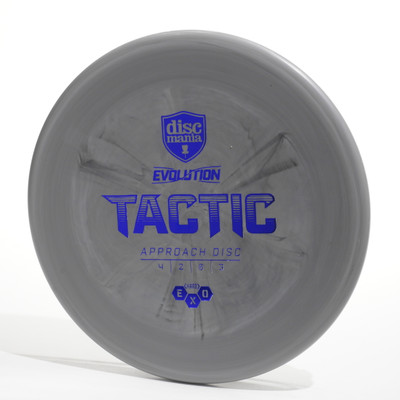 Top view of a gray Discmania Evolution Tactic (Exo Hard)
