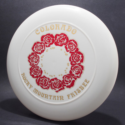 Sky-Styler 82 Colorado Rocky Mountain Frisbee White w/ Metallic Red and Gold - NT - Top View
