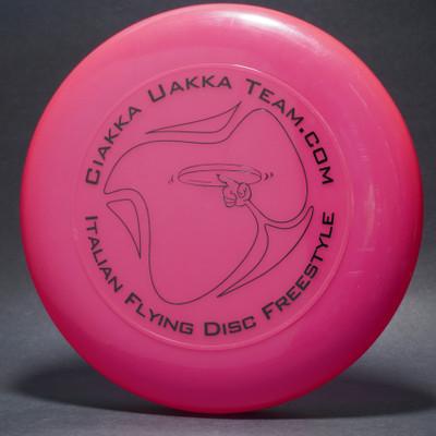 Sky-Styler Ciakka Uakka Team.com Italian Flying Disc Freestyle Bright Pink w/ Black Matte - T2000s - Top View