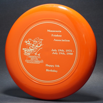 Sky-Styler 1980 MFA Minnesota Frisbee Association 5th Happy Birthday Orange w/ Metallic Gold - TR - Top View